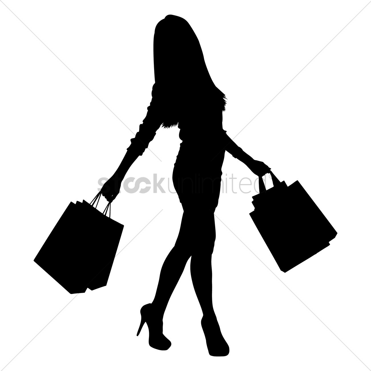 Silhouette of a lady with shopping bags Vector Image - 1456037 ...