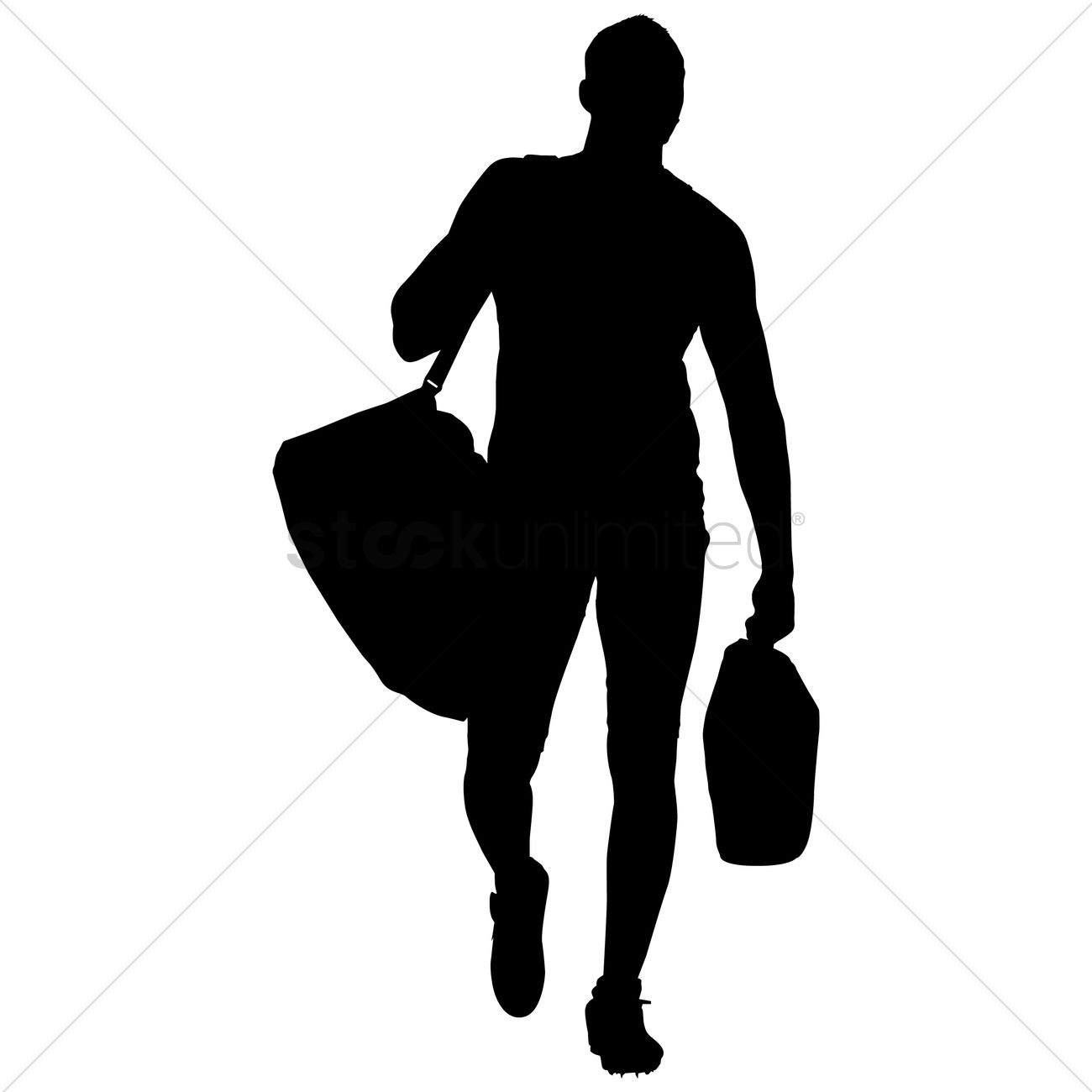 Silhouette of a man with bag Vector Image - 1253889 | StockUnlimited