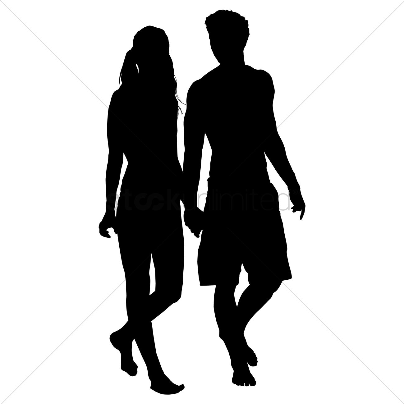 silhouette of couple walking together