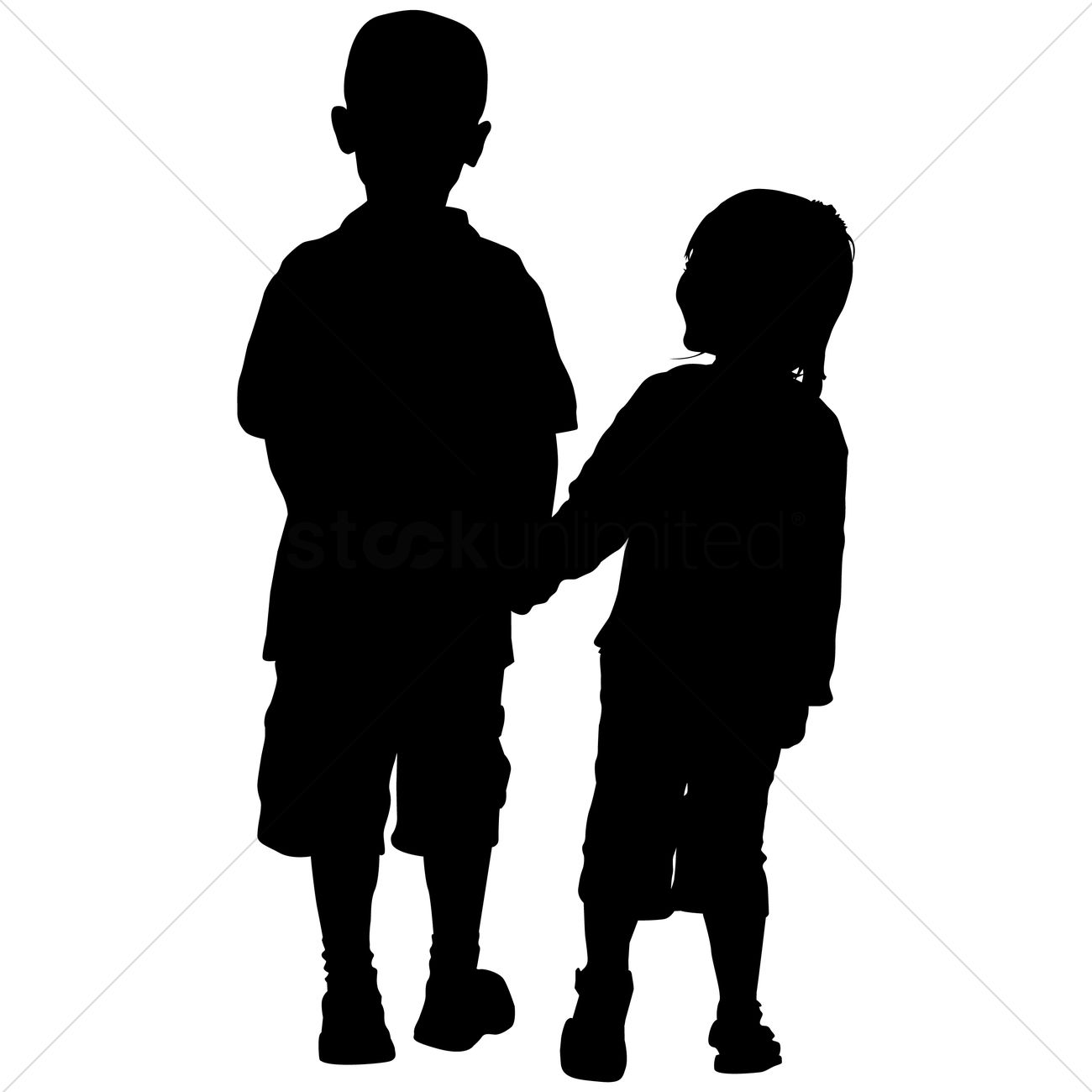 silhouette of kids holding hands vector image 1463153 stockunlimited