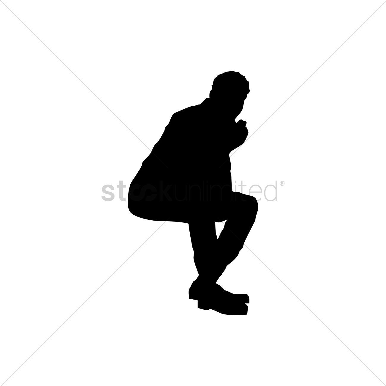 Silhouette Of Man Sitting Vector Image - 1446569 ...