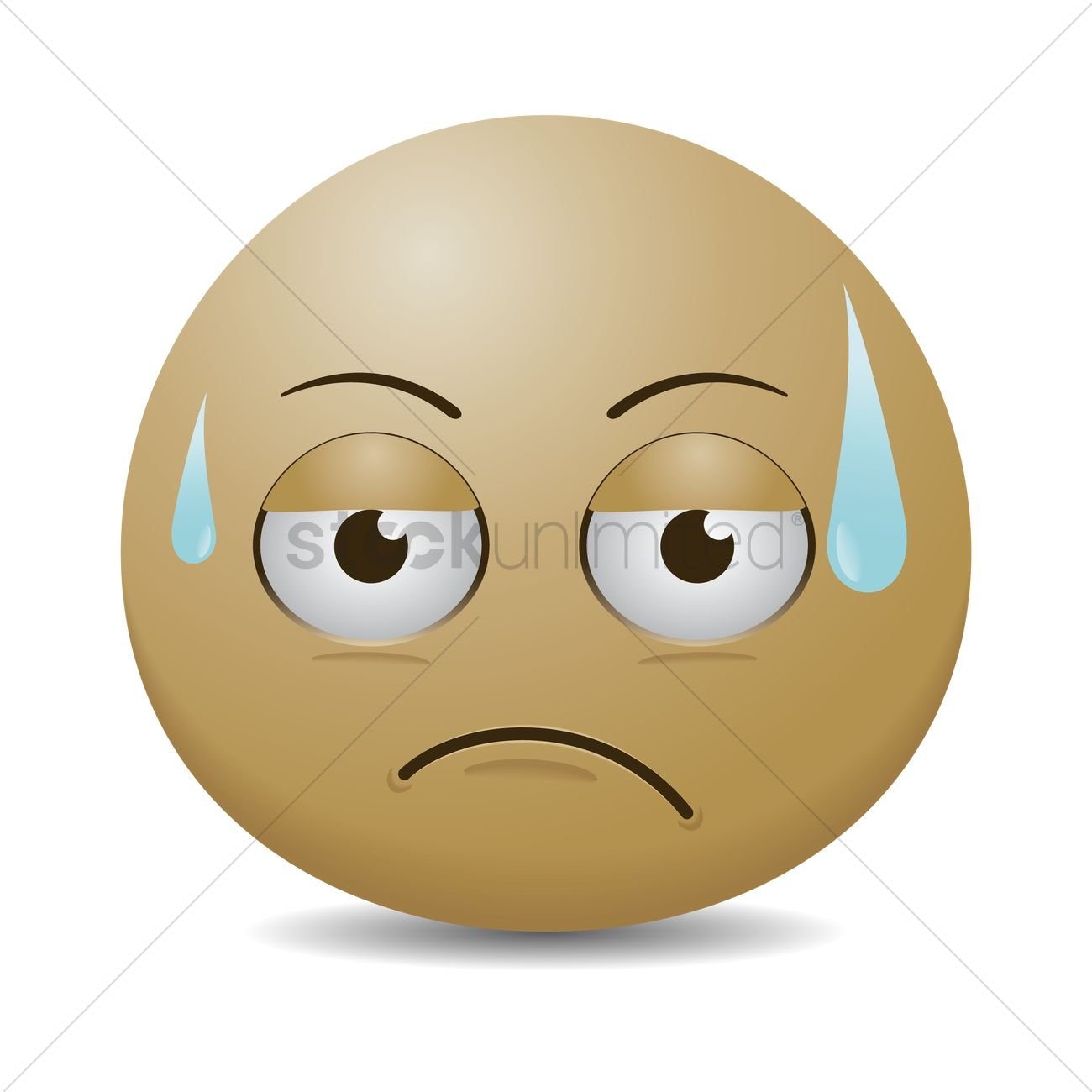Smiley Emoticon Upset And Sweating Vector Image 1477329