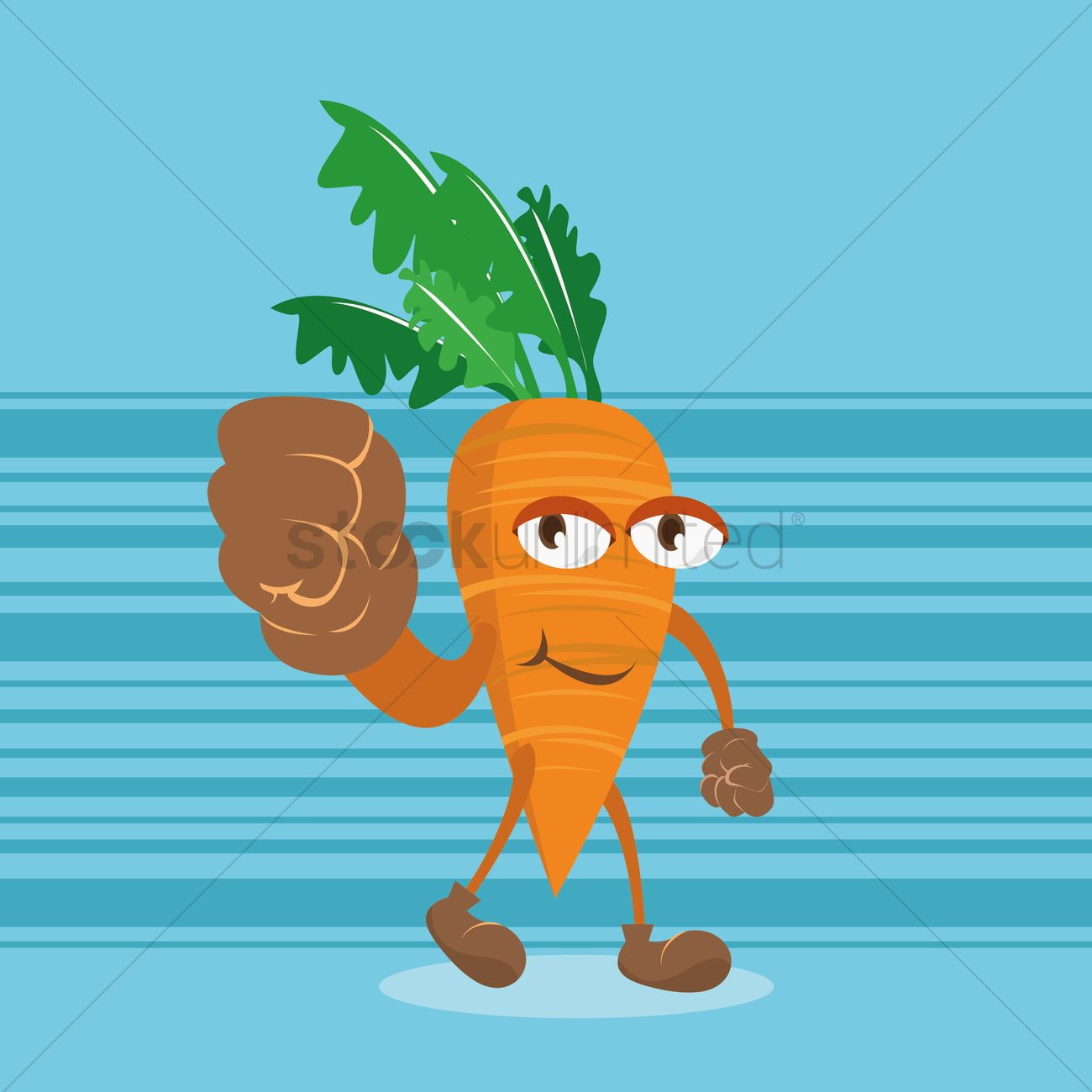 Smiling Carrot Cartoon With Clenched Fist Vector Image 1427413