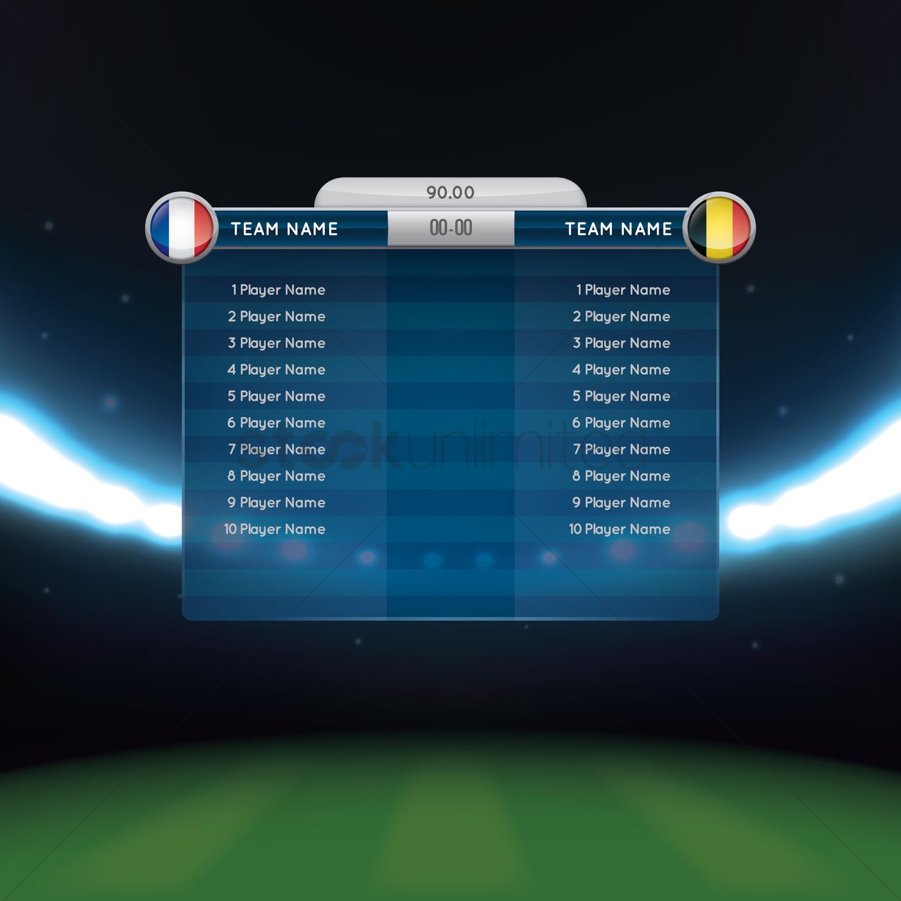 Soccer Lineup With Scoreboard Vector Graphic