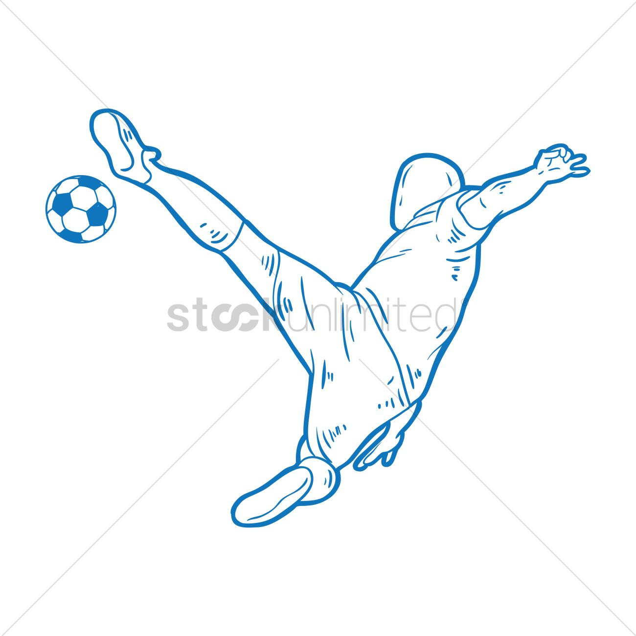 Free Soccer player with bicycle kick Vector Image ...