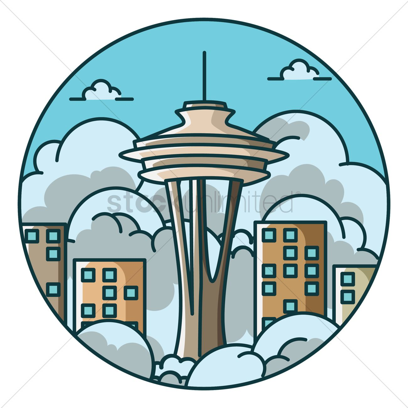 space needle vector image 1705805 stockunlimited