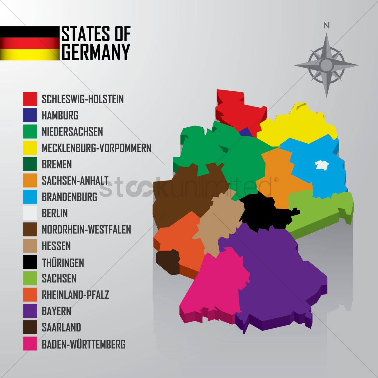 states of germany map vector graphic