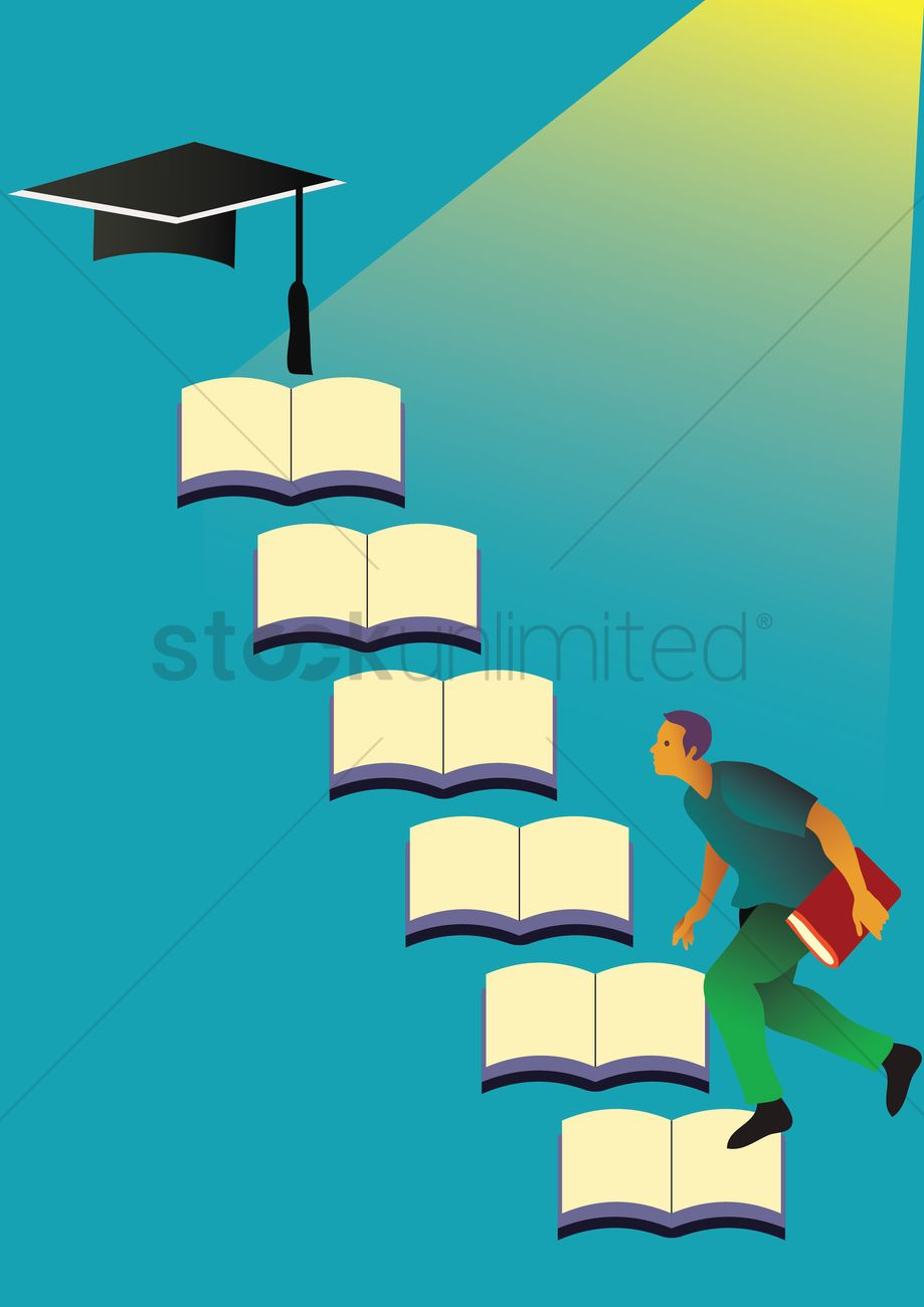 Student with graduation concept Vector Image - 1982989 ... for Student Climbing Ladder  166kxo