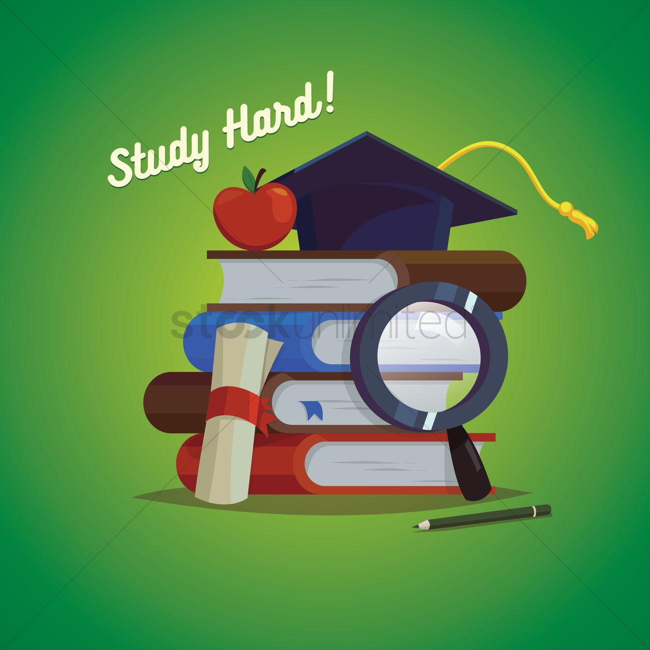 Poster design vector graphics - Study Hard Poster Design Vector Graphic