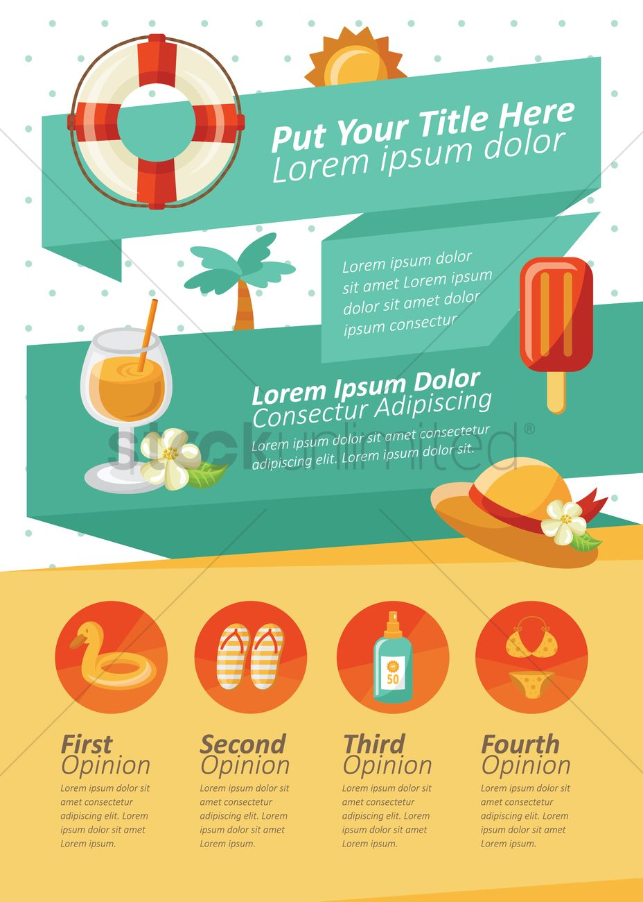 summer themed infographic vector image 1331661 stockunlimited