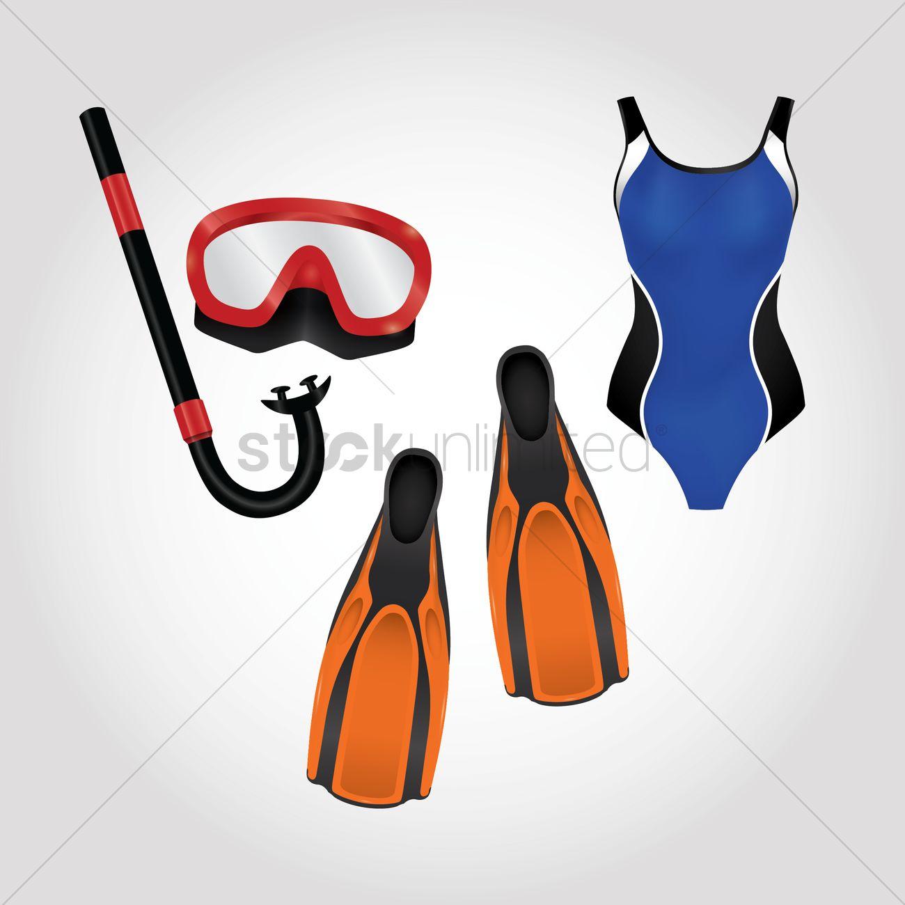 2db07f2b6f6 Swimming equipments Vector Image - 1513045 | StockUnlimited