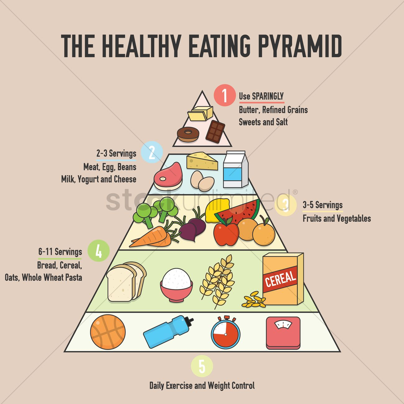 The Healthy Eating Pyramid Design Vector Graphic
