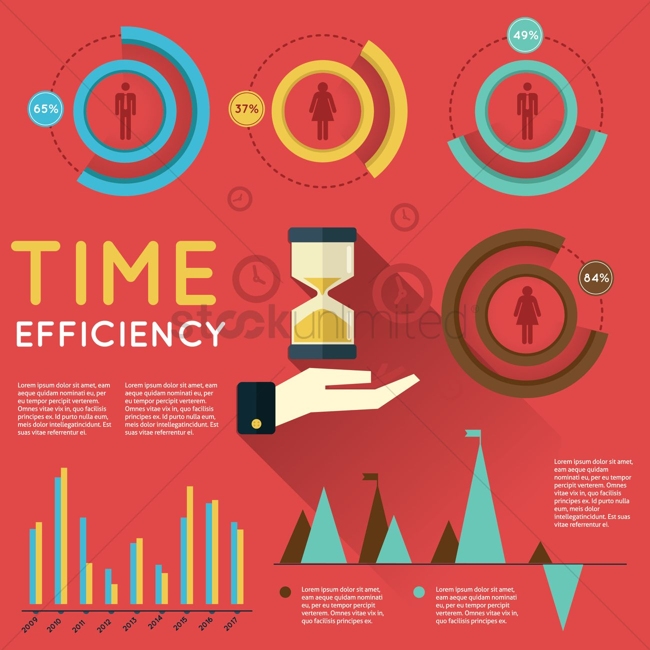 Time efficiency infographic Vector Image - 1549293 ...