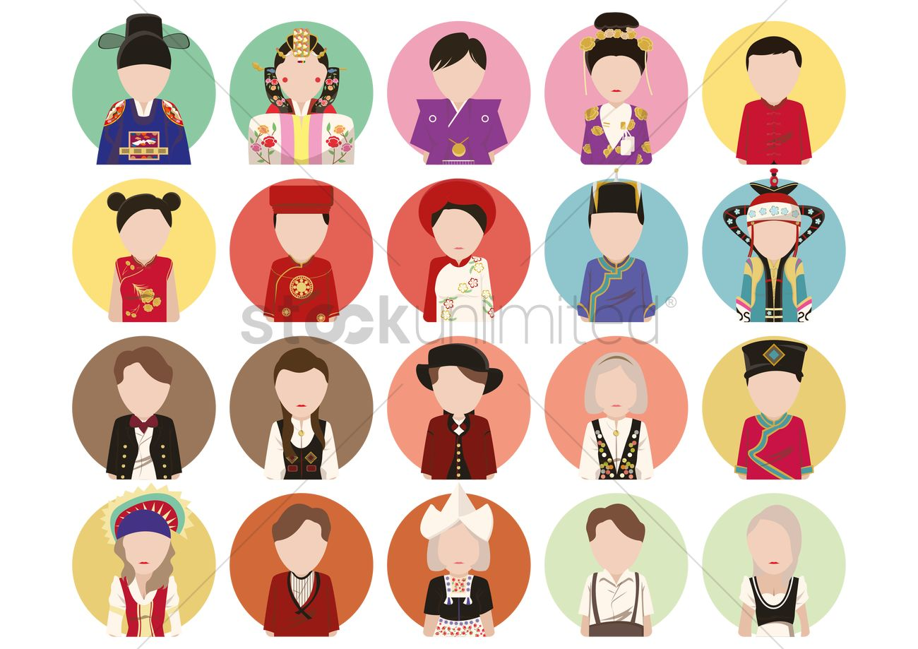 traditional costume icons vector image 1338357