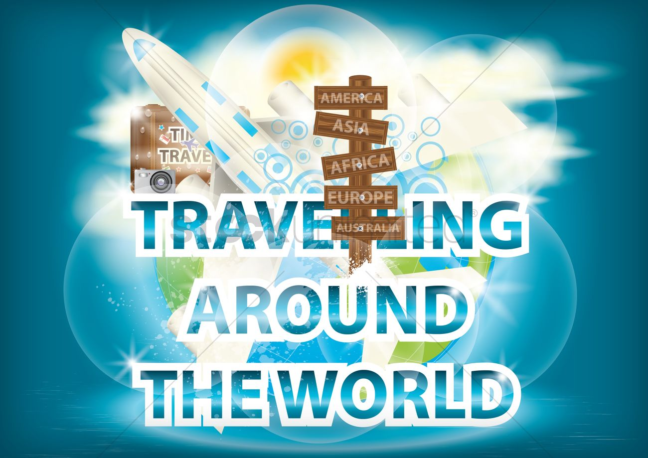 Travelling Around The World Wallpaper Vector Graphic