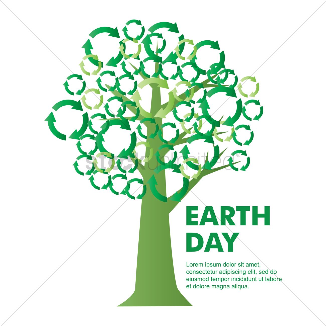 Tree With Recycle Symbols Vector Image 1276701 Stockunlimited