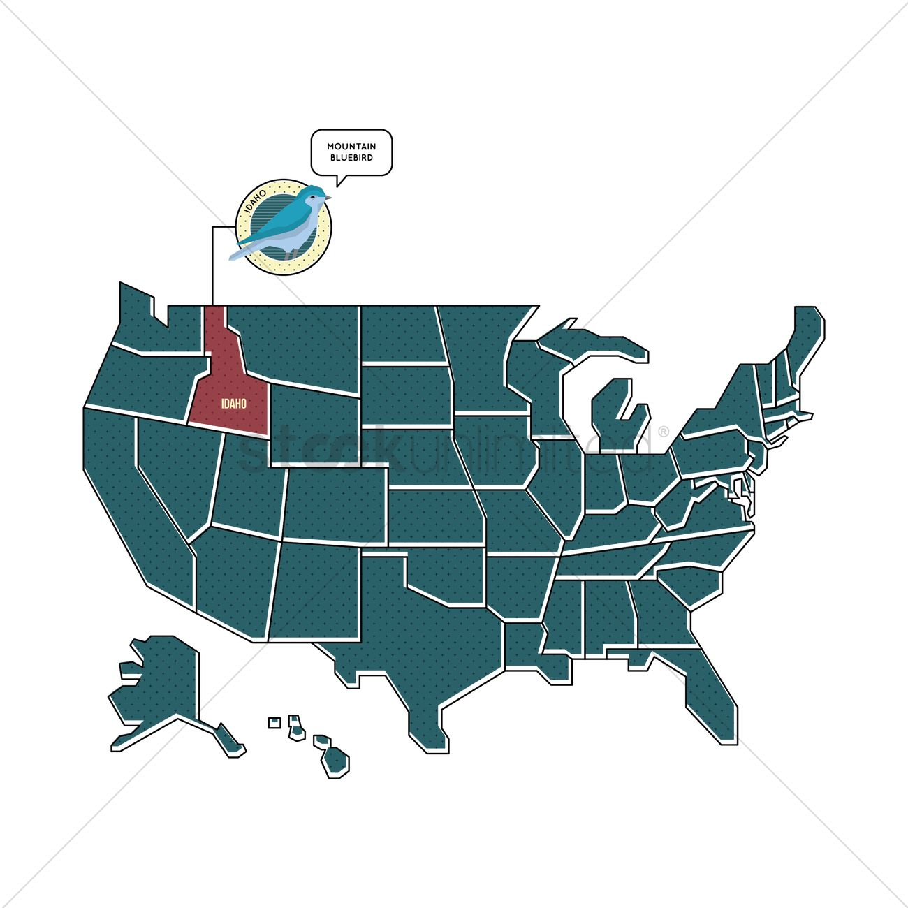 Us map with idaho state bird Vector Image 1567441 StockUnlimited