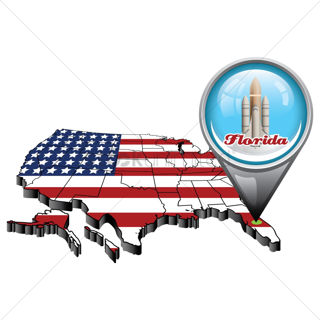 Us map with pin showing florida state Vector Image - 1553441 ...
