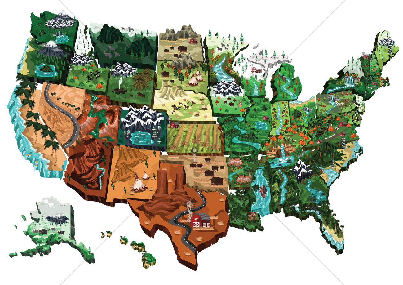 Usa map Vector Image 1542801 StockUnlimited
