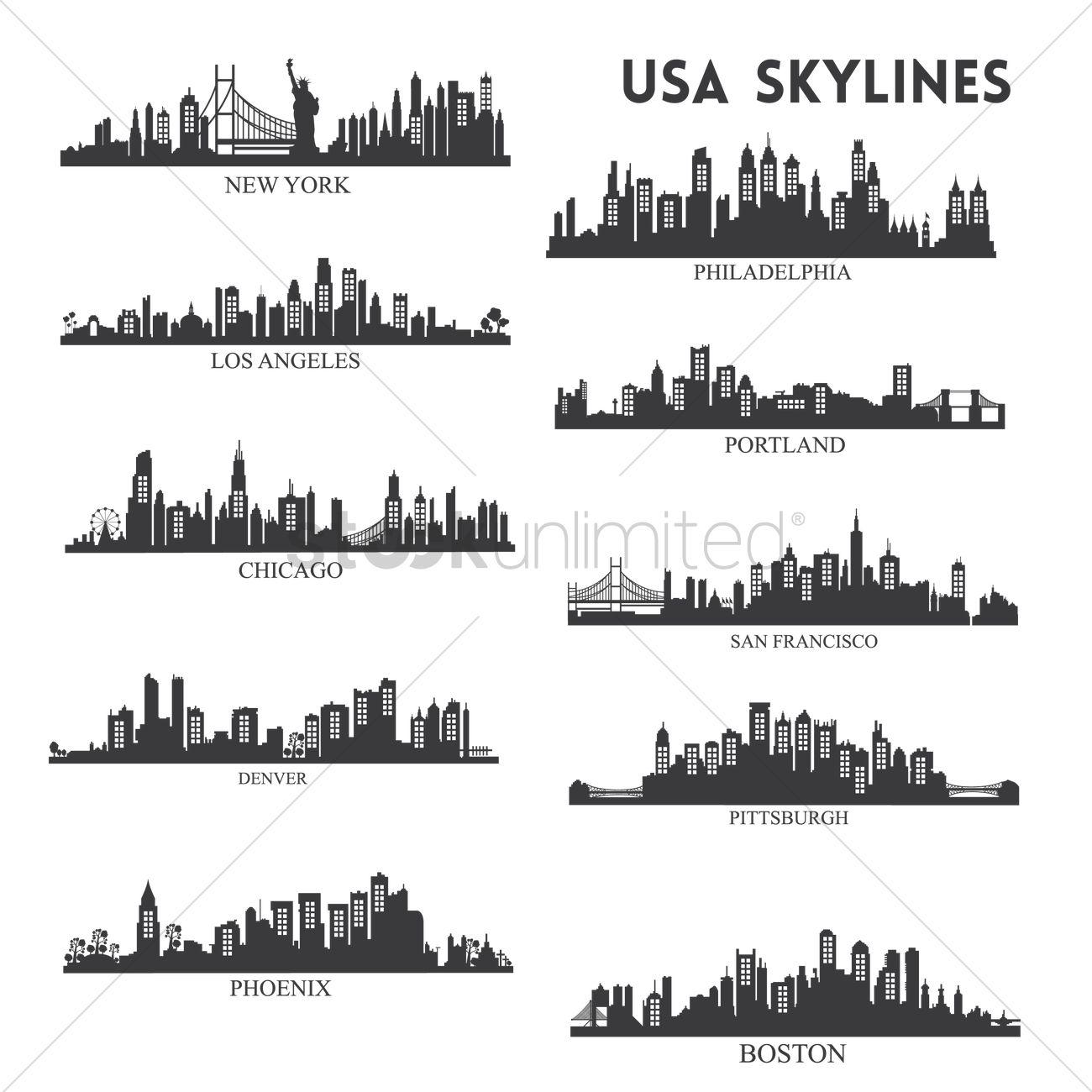 usa skyline silhouette collection vector image 1515593