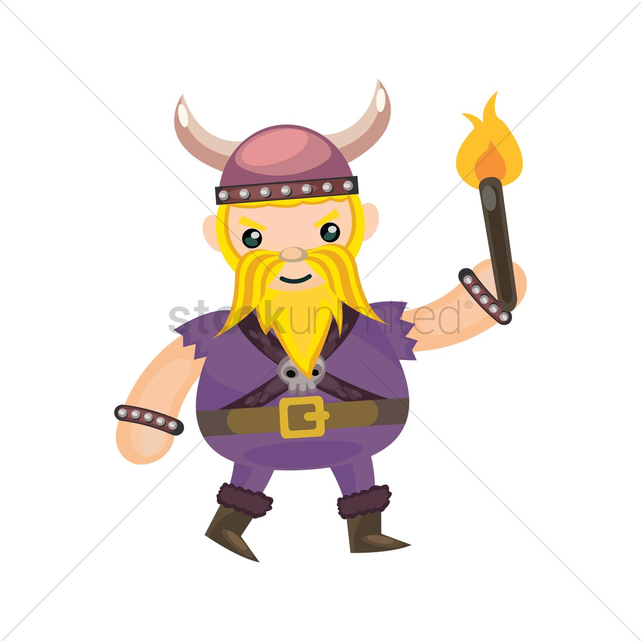 Viking Holding Fire Torch Vector Graphic