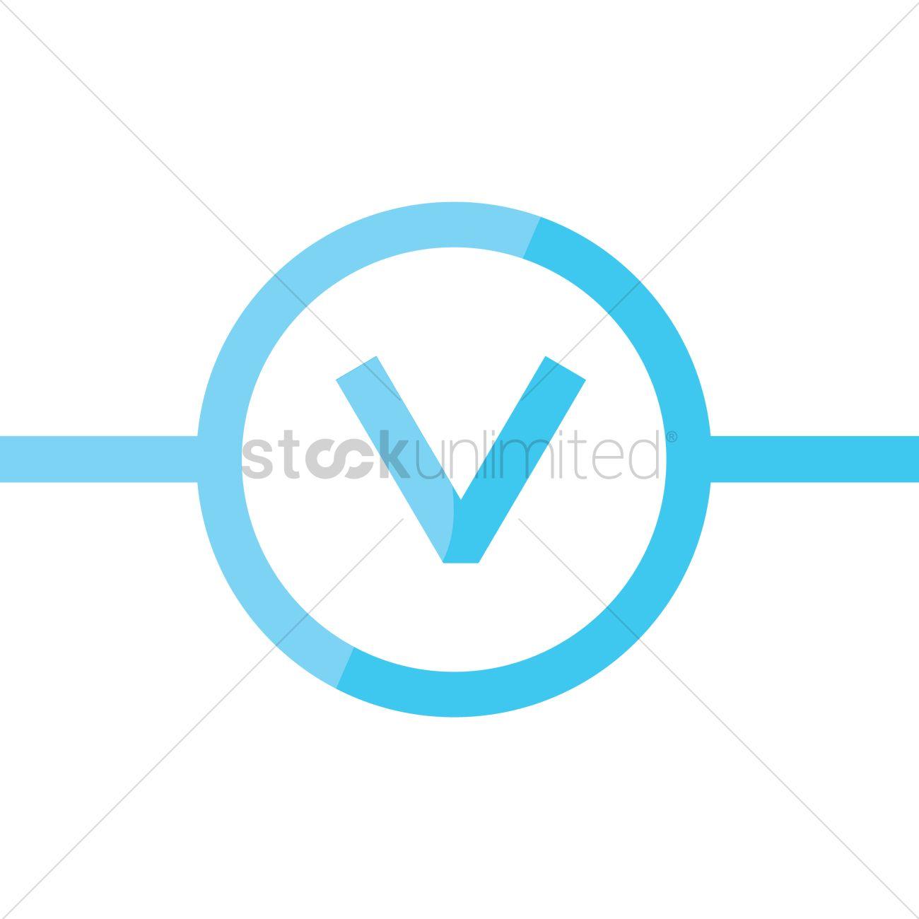 Voltmeter Circuit Symbol : Voltmeter symbol vector image stockunlimited