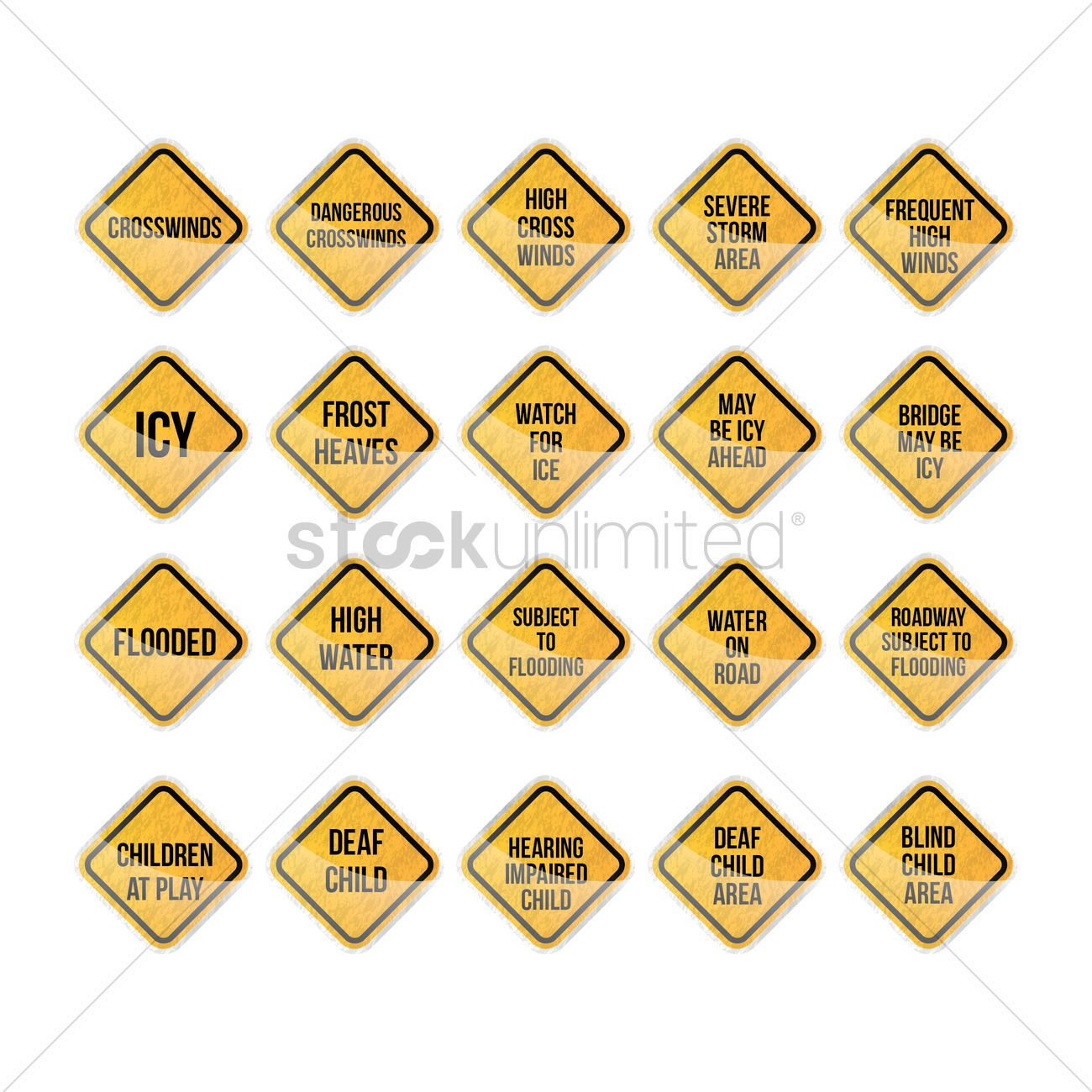 Bridge May Be Icy Is What Sign Said >> Warning Signs Collection Vector Image 1569365 Stockunlimited