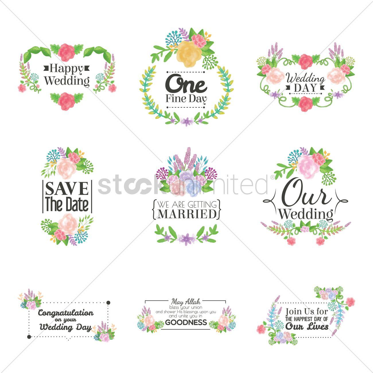 Wedding Card Collection Vector Graphic