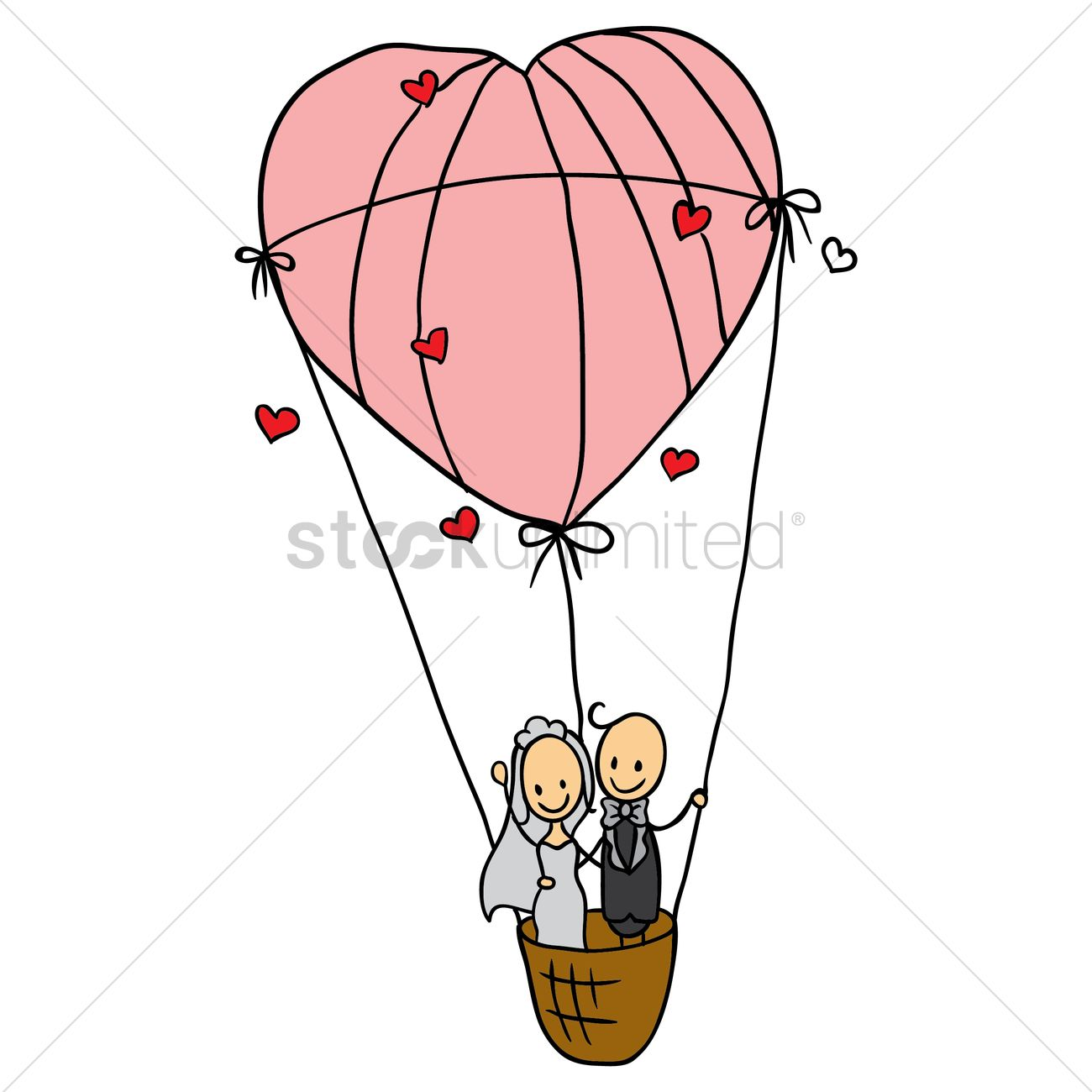 Wedding couple in a heart shaped air balloon Vector Image - 1514917 ...