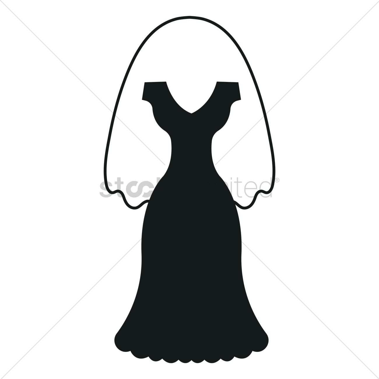 Wedding dress silhouette Vector Image - 1900589 | StockUnlimited
