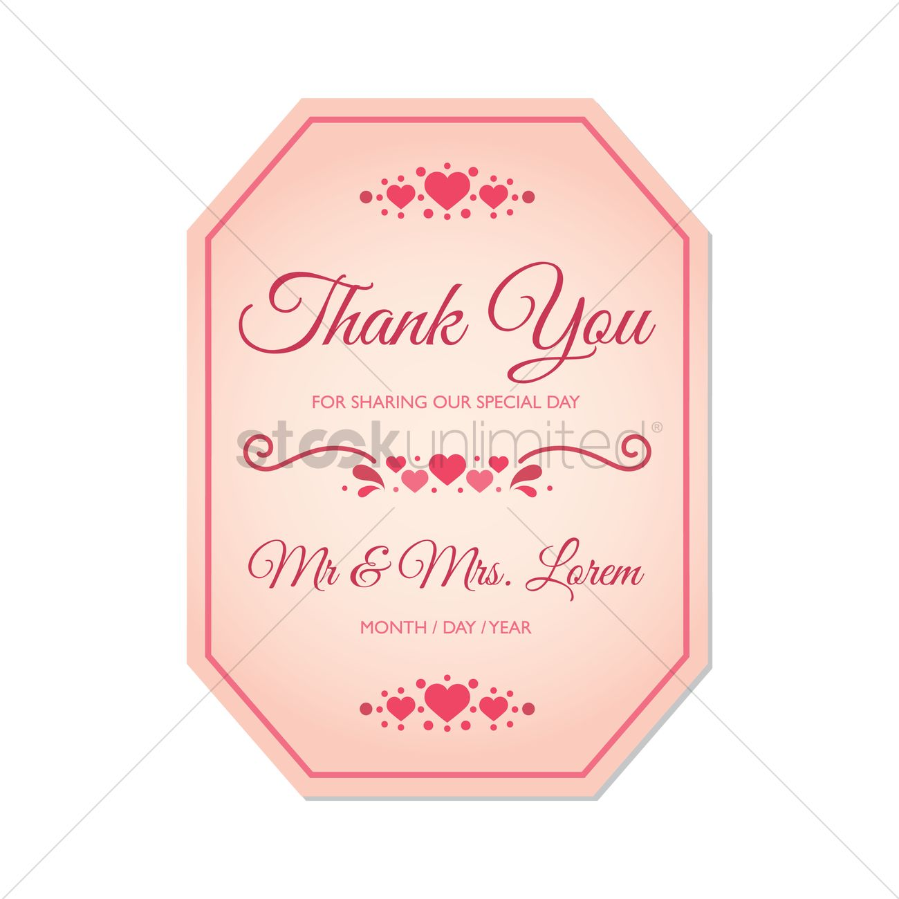 Wedding thank you card Vector Image - 1798101 | StockUnlimited