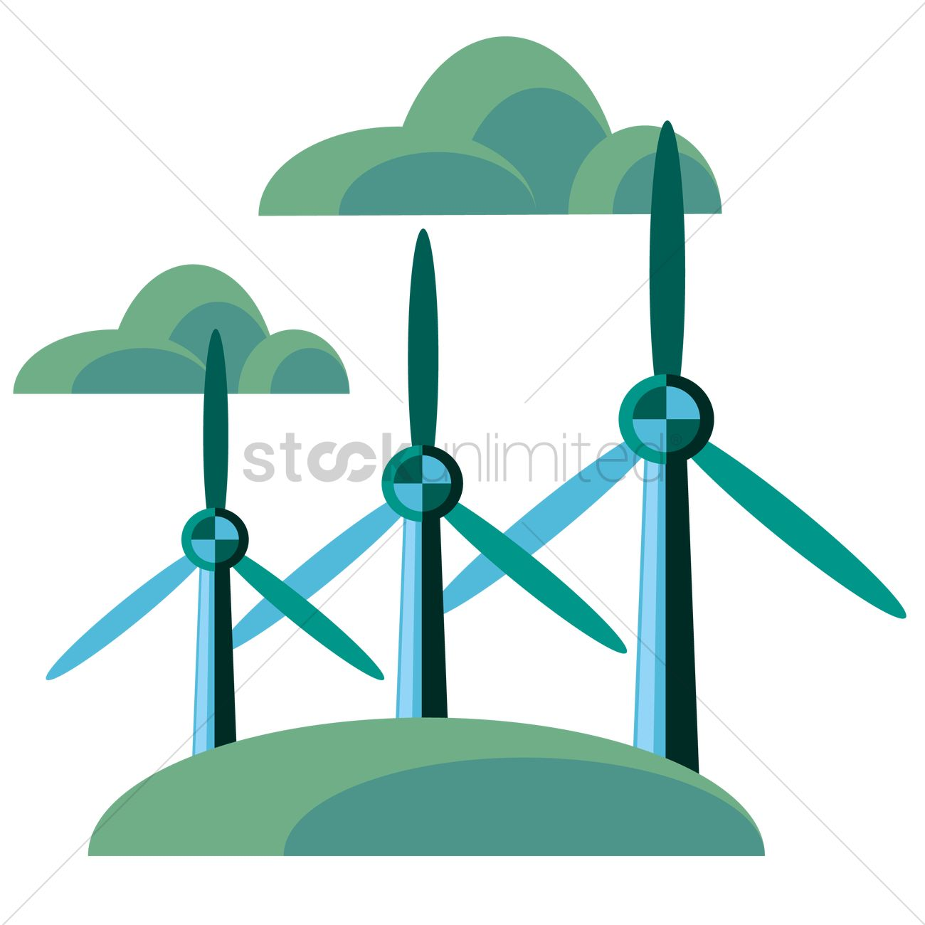 Wind Turbines Vector Image 1262061 Stockunlimited