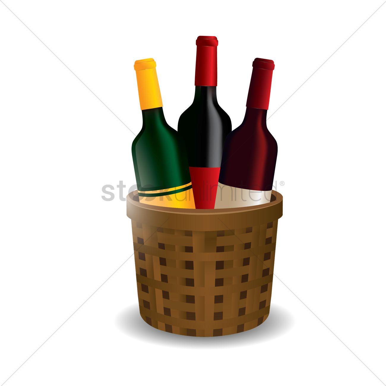 wine bottles in basket vector image 1529021 stockunlimited