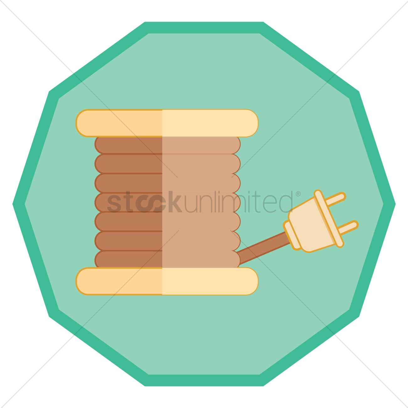 Wire with plug coiled around caddy Vector Image - 1356281 ...