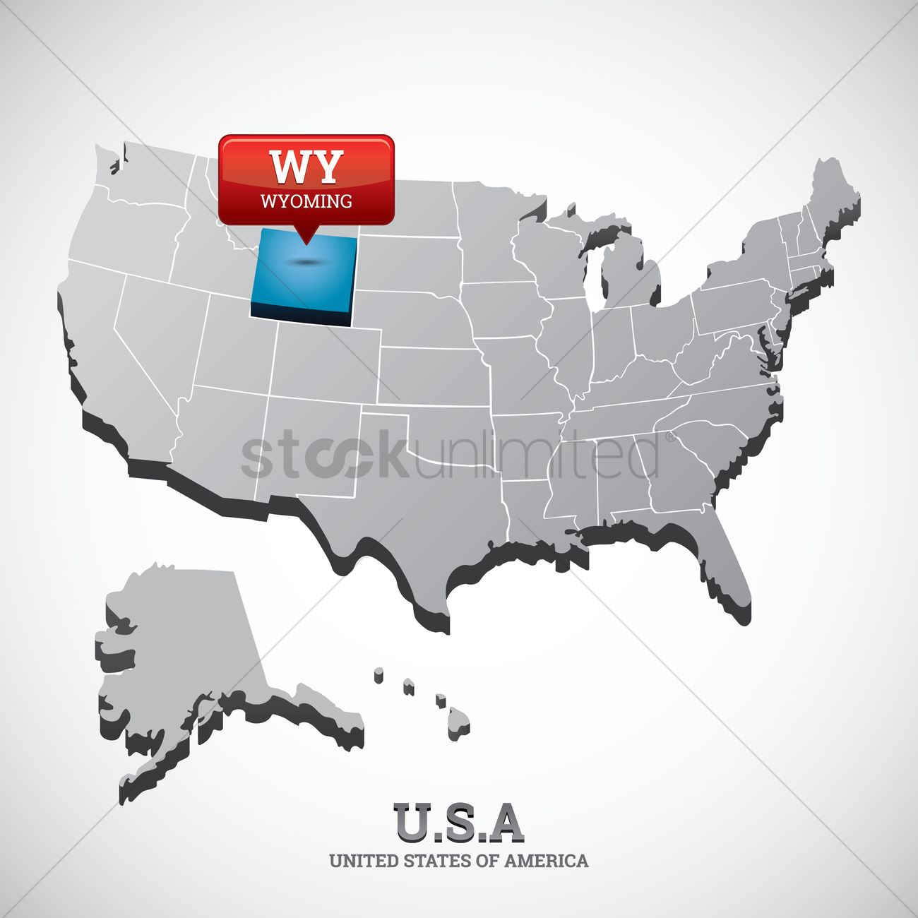 Wyoming state on the map of usa Vector Image - 1532629 ...