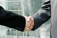 A handshake between two businessmen