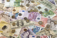 American british and euro paper currency