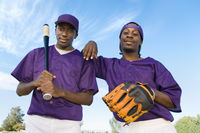 Baseball players outdoors  portrait