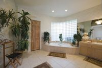 Bathroom with glass brick window and trouser press