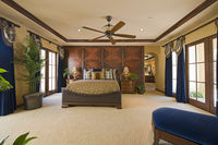 Bedroom interior with ceiling fan