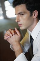 Businessman in deep thought