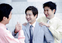 Businessmen greeting each other