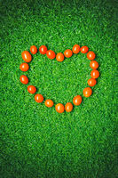 Cherry tomatoes forming heart shape