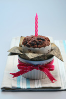 Chocolate chip muffin with candle in it