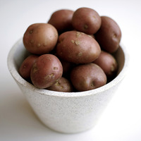 Close up of some red potatoes in a bowl