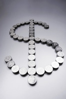 Coins making a dollar sign