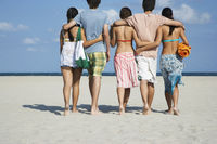 Popular : Group of teenagers  16-17  walking on beach back view