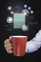 Hand holding a mug with infographic elements concept