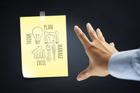 Hand presenting a business strategy diagram concept