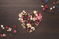 Heart shaped with dried flowers